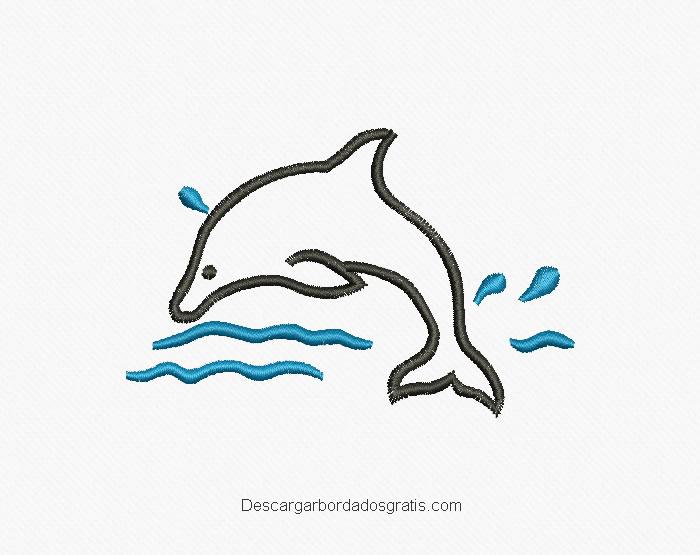Descargar diseño bordado delfín gratis