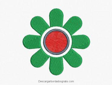 Diseño bordado flores con decoración gratis
