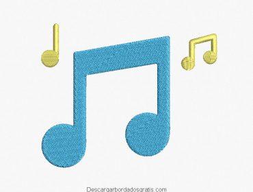 Diseño bordado símbolos de música