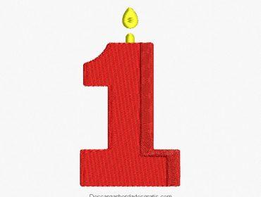 Diseño bordado vela número 1