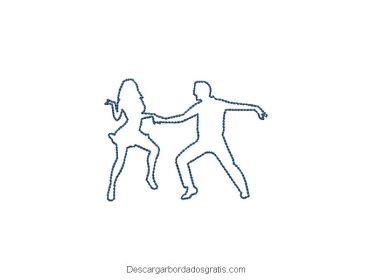 Diseño bordado bailarina de rock and roll gratis